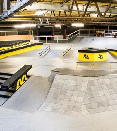 Skate boarding ramps at Adrenaline Alley in Corby