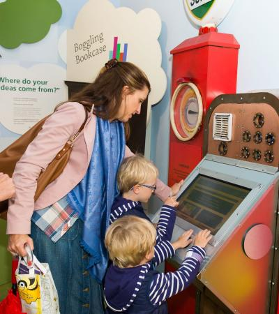 A family at The Roald Dahl Museum & Story Centre, Great Missenden