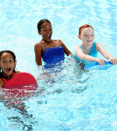 Girls in swimming pool at Hillingdon Sports and Leisure Complex in Uxbridge