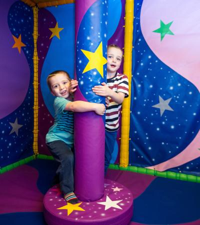 Kids playing on soft play frame at Leominster Leisure Centre