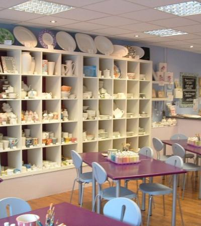 Pottery and craft tables at Dish Ceramics Studio in Reigate