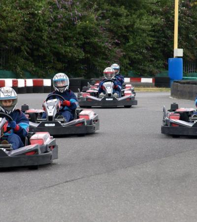 People go kart racing at Grand Prix Karting in Birmingham