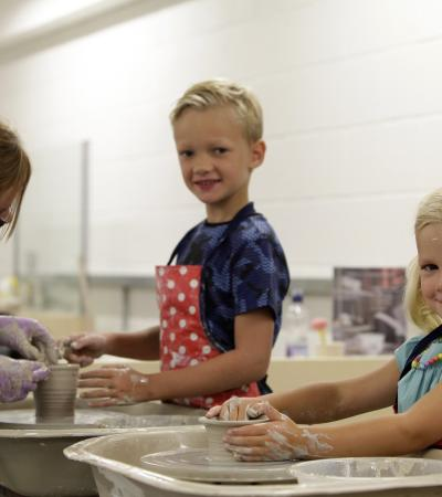 Kids doing pottery at World of Wedgwood in Barlaston