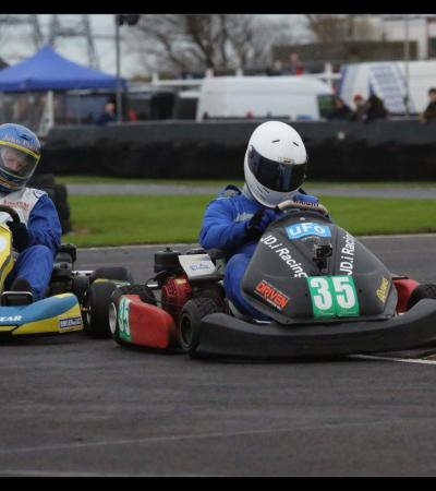 People on go karts at Lydd Karting