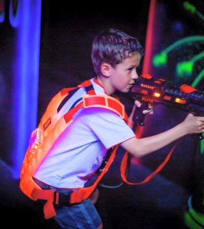 Boy playing laser tag at Jungleland Telford