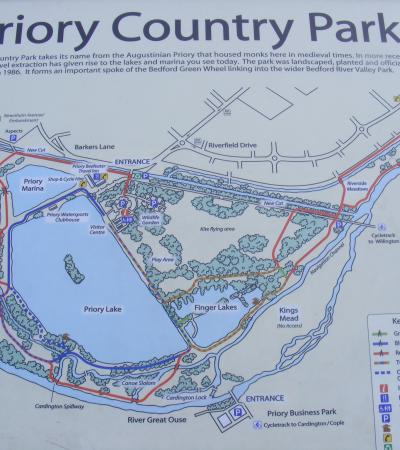Map of Priory Country Park in Bedford