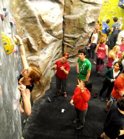 Young people at Craggy Island Indoor Bouldering & Caving Centre