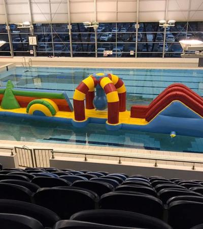 Inflatable obstacle course on swimming pool at Braintree Swimming Centre