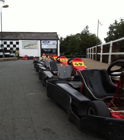 Go karts at Stretton Circuit in Leicester