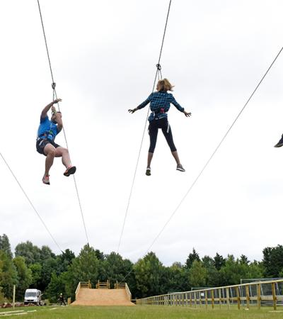 Family doing the zip wire at Go Ape Chessington