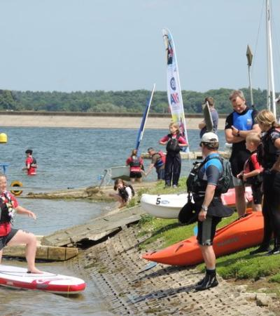 People participating in watersports at Alton Watersports Centre in Stutton