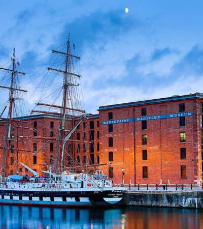 Outside view of Merseyside Maritime Museum in Liverpool