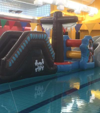 Inflatable obstacle course on swimming pool at Crystal Leisure Centre in Stourbridge