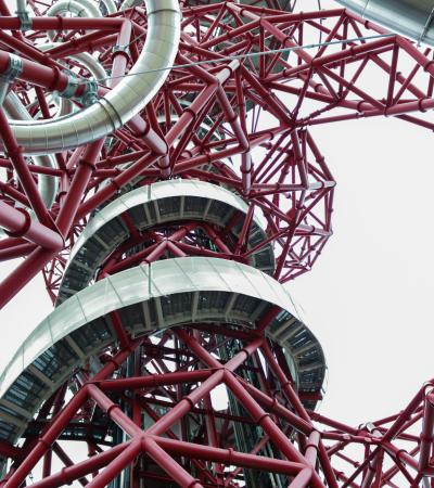 Ground view of ArcelorMittal Orbit in London
