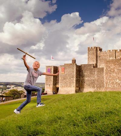 Person playing outside Dover Castle