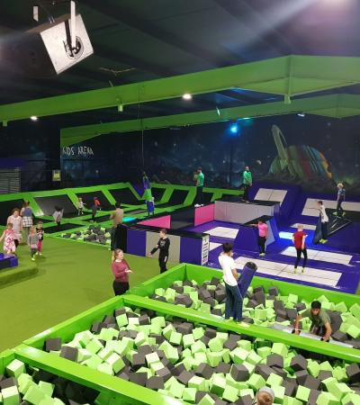 Foam pit and trampolines at Flip Out Leicester