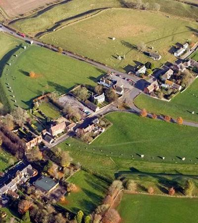 Aerial view of Alexander Keiller Museum in Avebury