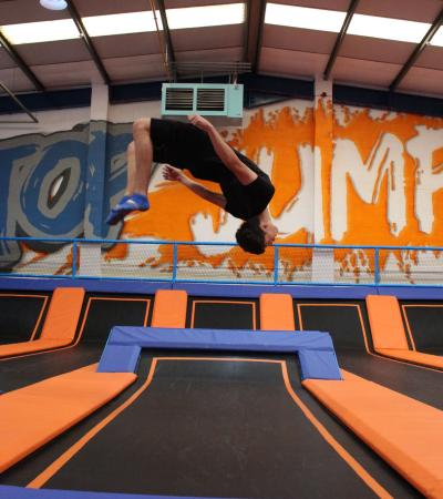 Boy flipping at TopJump Trampoline Park in Milton Keynes