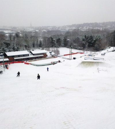 People skiing at Norfolk Snowsports Club in Norwich
