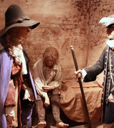 Wax statues at Buckingham Old Gaol Museum
