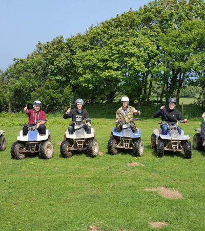 Kids on quad bikes at Keypitts Quads in Ilfracombe