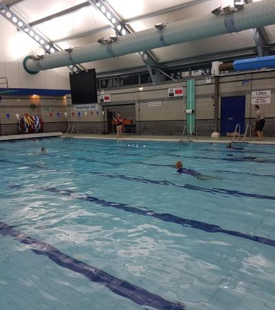 People in swimming pool at Trowbridge Sports Centre
