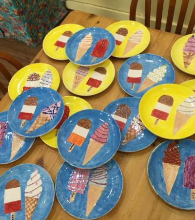 Painted plates at Kippys Paint Your Own Pottery in Ashford