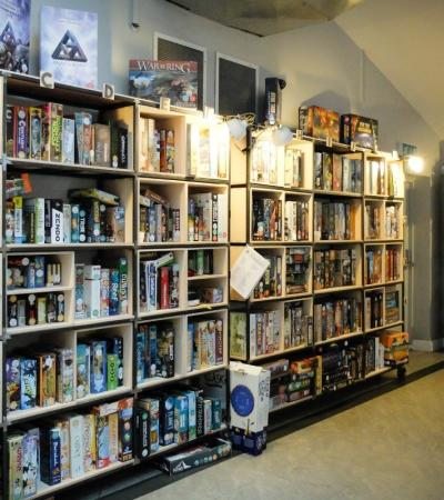 The selection of board games at The Treehouse Board Game Cafe in Sheffield