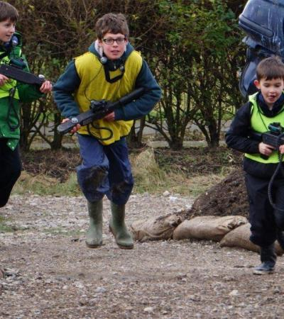 Kids playing laser tag at Adrenalin Rush Laser Combat in Chiswick