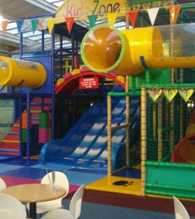 Indoor soft play frame and slide at Kids Zone in Worksop
