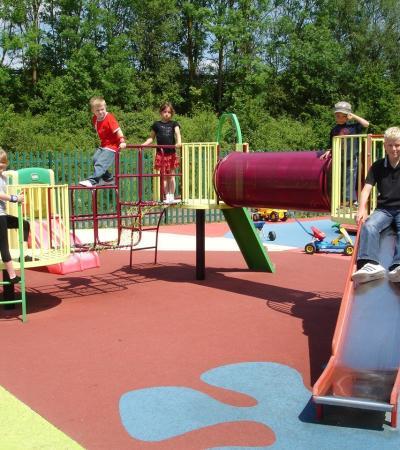 Kids on adventure playground at Broomfield Adventure Golf in London