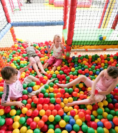 Kids playing in ball pit at Jungle Madness in Swadlincote