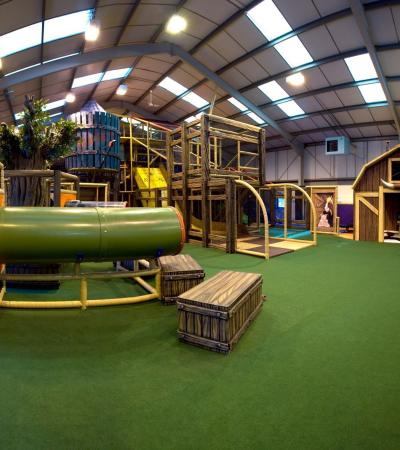 Indoor soft play frame at Farmer Freds Adventure Play Barn in Kings Lynn