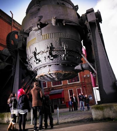 Family looking at Bessemer Converter at Kelham Island Museum in Sheffield