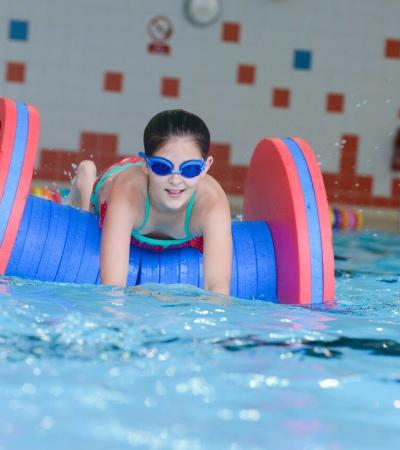 Girl in swimming pool at Hertfordshire Sports Village in Hatfield