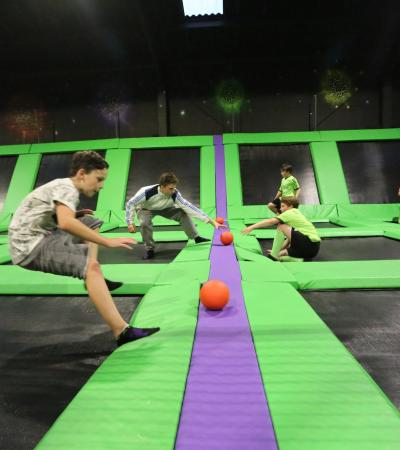 People playing dodgeball at High Altitude Trampoline Park in Norwich