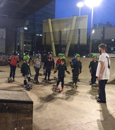 Kids skate boarding at Projekts Indoor Skatepark in Manchester