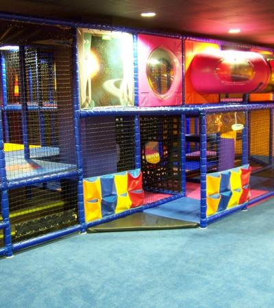 Indoor soft play frame at Space Play in Bedlington