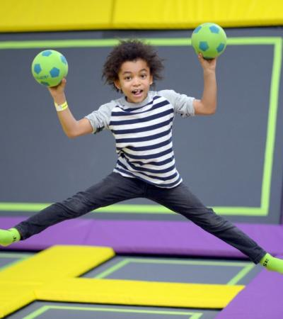 Boy jumping on trampoline at Base Jump in Rayleigh