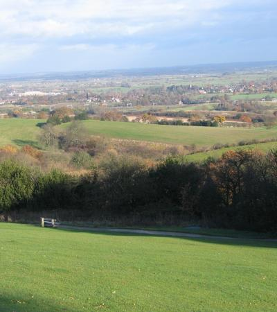 Hill top view of Hartshill Hayes Country Park and city in Nuneaton