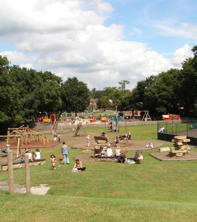 Families playing at Shepherd Meadows in Sandhurst