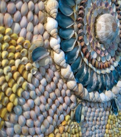 Shell art display at The Shell Grotto in Margate