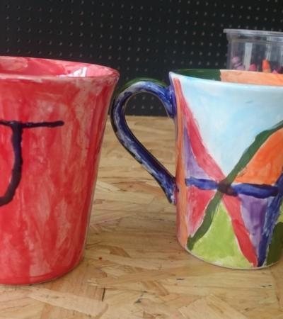 Painted cups at Picazzo Arts in Wealdstone