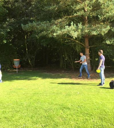 Family playing disc golf at Tilney Sports in Kings Lynn