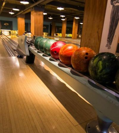 Bowling balls and alley at Bloomsbury Bowling Lanes in London