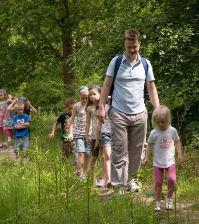 Family on trail at Cannock Chase Visitor Centre in Stafford