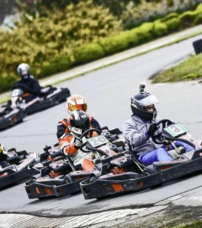 People go kart racing at Rye House Kart Raceway in Hoddesdon