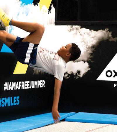 Boy flipping at Oxygen Freejumping Croydon