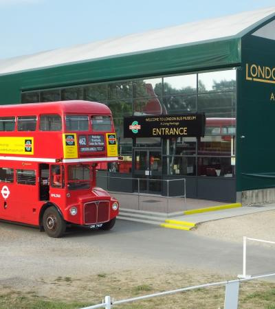 Entrance to London Bus Museum in Weybridge