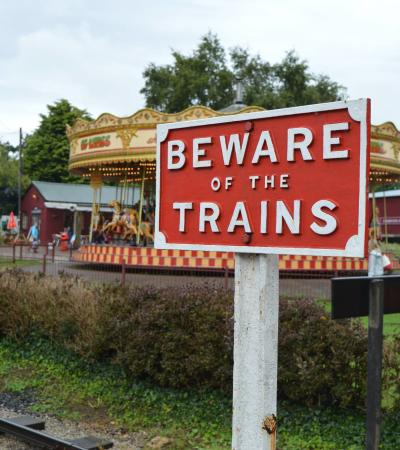 Sign next to tracks at Bressingham Steam Experience